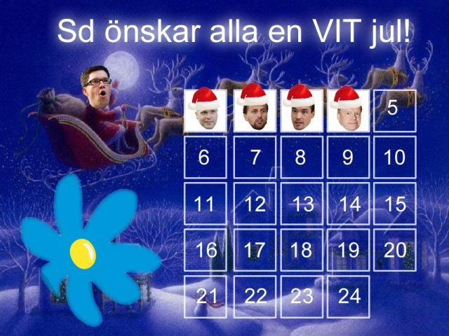 Sverigedemokraterna julkalender adventskalender Jimmie Åkesson Kent Ekeroth Erik Almqvist Christian Westling 2000aldrig satir