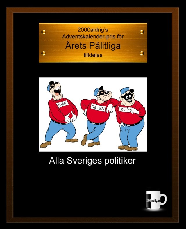 Julkalender 2012 adventskalender politiker satir humor 2000aldrig bidragsfusk bidrag