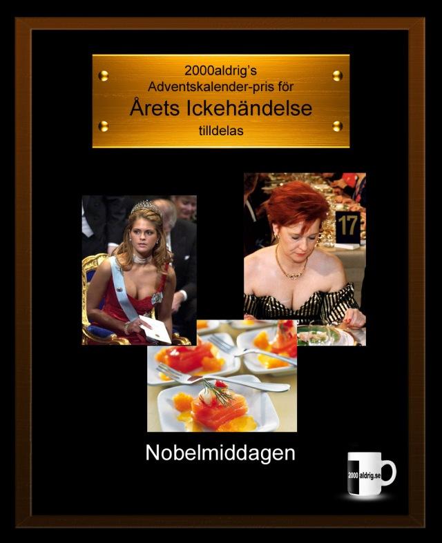 Julkalender adventskalender 2000aldrig kungen Prinsessan Madeleine Nobelfest Nobelpris satir humor
