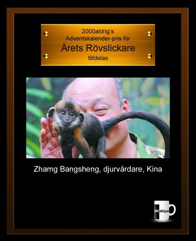 Julkalender adventskalender djurskötare djurvårdare Kina 2000aldrig satir humor rövslickare